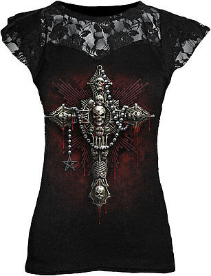SPIRAL DIRECT DEATH BONES Lace Layered Viscose Cross/Skull/Goth/All Sizes/Top