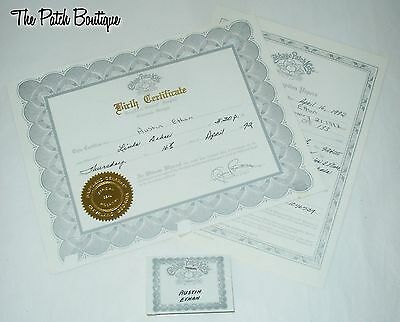 Cabbage Patch Kids Soft Sculpture Silver Cpe Doll Birth Certificate & Name Tag