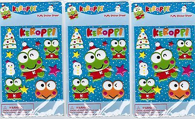 SANRIO KEROPPI Frog PUFFY Holiday Winter Stickers! 3 NEW PACKS!