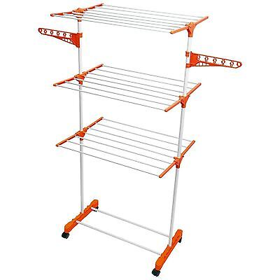 3 Tier Upright Compact Deluxe Folding Clothes Laundry Towel Rack Dryer Stand