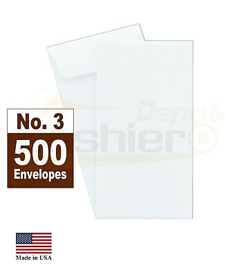 "White #3 Coin Envelopes, 2 1/2 x 4 1/4"", 24lb, 500/box (SY315)"