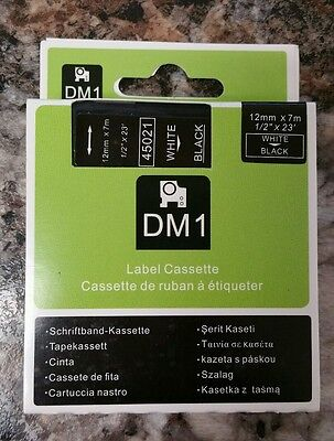 """Best White on Black Tape Label Compatible for DYMO 45021 D1 12mm 1/2"""""""