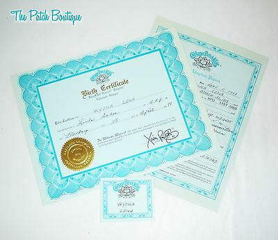 Cabbage Patch Kids Soft Sculpture Aquamarine Kpo Doll Birth Certificate & Tag