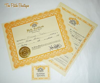 Cabbage Patch Kids Soft Sculpture Topaz Kpn Doll Birth Certificate & Name Tag