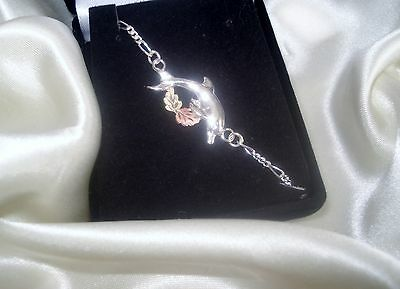 """10K SOLID Black Hills GOLD LEAFS ON 925 SILVER DOLPHIN ANKLET 10""""LOBSTER CLAW"""