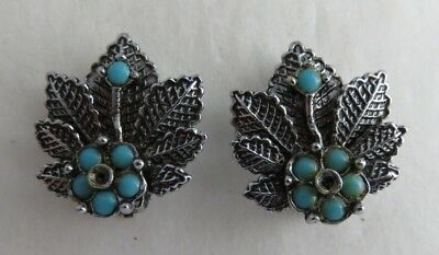 Vintage Silver Tone Leaf And Blue Beaded Flower Clip On Earrings      (Inv3254)