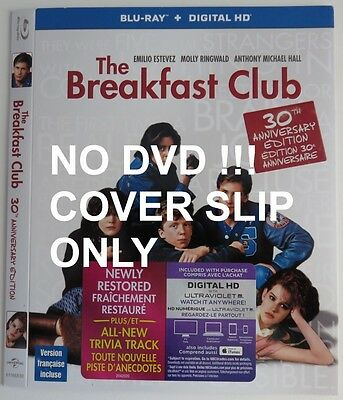 No Discs !! Breakfast Club Blu-Ray Dvd Cover Slip Only - No Discs !!   (Inv9398)
