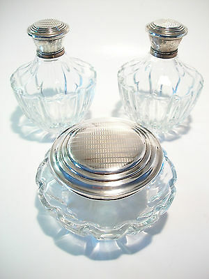 Vintage Three Piece Vanity Set - Silver Plate & Crystal - Early 20th Century