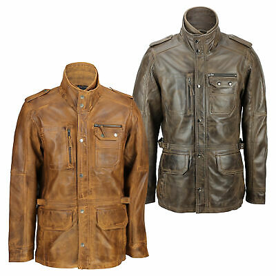 New Mens Retro Real Leather Washed Tan Brown Vintage Military Coat Field Jacket