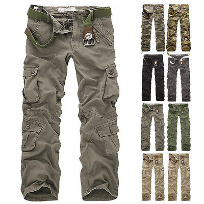 Fashion Men's Fitted Combat Cargo New Pants Army Military Casual Work Trousers