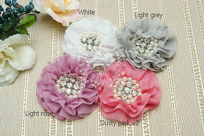 4 MIX PARISIAN v4,chiffon fabric flowers, DIY Baby Headband Craft, embellishment