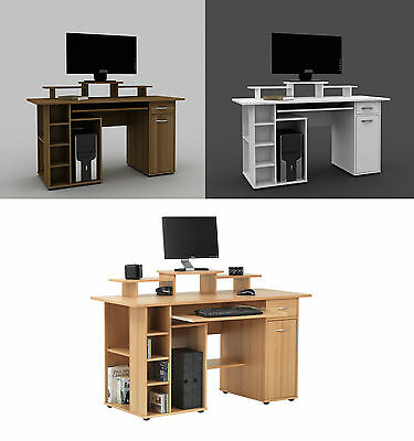 San Diego Beech, Walnut or White Home Office Desk Workstation with Storage