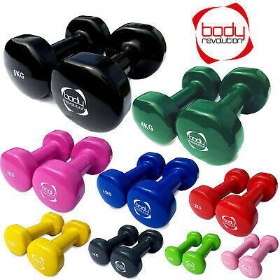 Vinyl Dumbbell Ladies Hand Weights - Fitness Home Gym Strength Aerobic Training