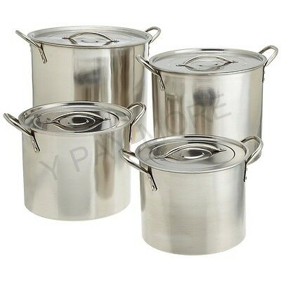 Heavy Gauge Deep Stainless Steel Stock Pot Cater Stew Soup Boiling Pan With Lid