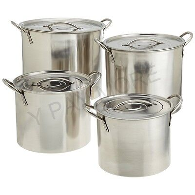 Medium Gauge Deep Stainless Steel Stock Pot Cater Stew Soup Boiling Pan With Lid