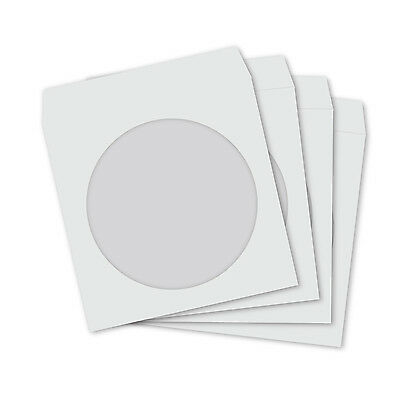 Mini CD DVD White Paper Protector Sleeves with Clear Window and Flap - 50 PACK