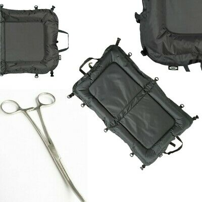 NGT Carp Fishing Beanie Unhooking Large Mat 110cm x 60cm + 8 inch Curved Forceps