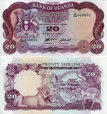 UGANDA 20 Shillings Banknote World Paper Money UNC Currency Note p3 1966 Bill