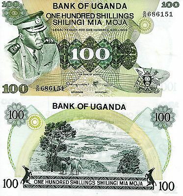 UGANDA 100 Shillings Banknote World Paper Money Currency Note p9c Idi Amin Bill