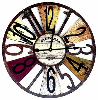 60cm Large Wall Clock Wooden Vintage Antique Style Retro Shabby Home Gift Idea