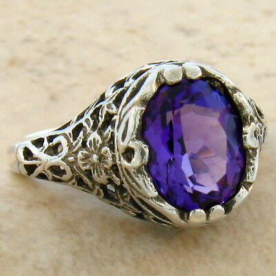 Lab Amethyst Antique Filigree Style 925 Sterling Silver Ring Size 6.75,#679