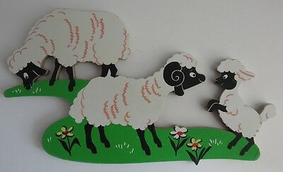 Vintage Compressed Wood Sheep Cut Out Wall Hanging                  (Inv10106R)
