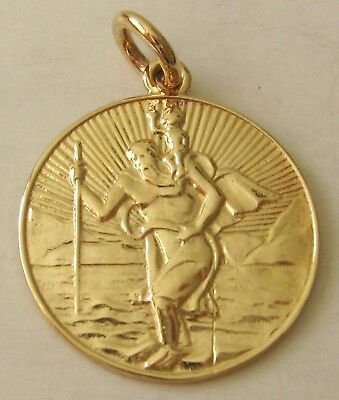 LARGE  GENUINE  9K  9ct  SOLID  Gold  ST SAINT CHRISTOPHER  Pendant/Medal