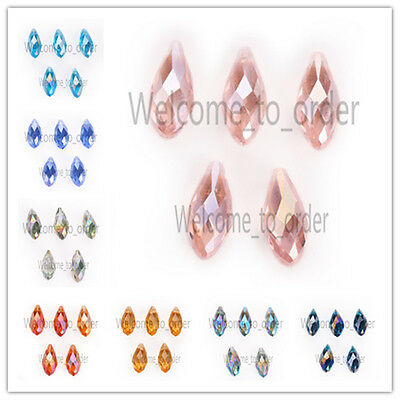 10x20mm Faceted Teardrop Pendant Findings Glass Crystal Loose Spacer Beads