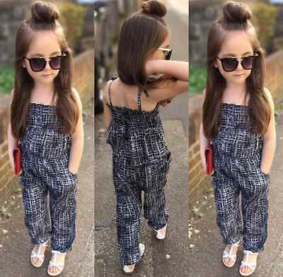 Fashion Kids Baby Girls Backless Overalls Romper Jumpsuit Playsuit Clothes 2-7Y