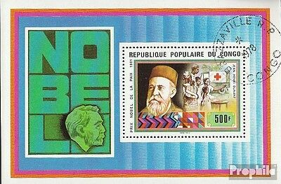 Congo (Brazzaville) block16 fine used / cancelled 1978 Nobel Laureates