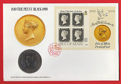 Isle of Man 1 Crown 1990 PENNY BLACK 150th Annivers Stamp & Coin Cover FDC Sheet