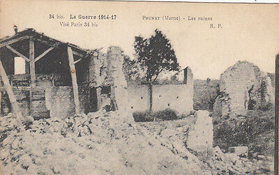 CPA GUERRE 14-18 WWI MARNE PRUNAY les ruines