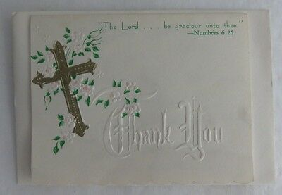 Vintage Religious Thank You Card With Envelope - Used      (Inv3265)