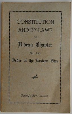 Vintage Constitution And By-Laws Of The Order Of The Eastern Star