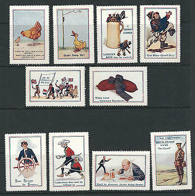GREAT BRITAIN circa 1930s WAR STAMPS comic themed (set of 10) VF MH LOT 2