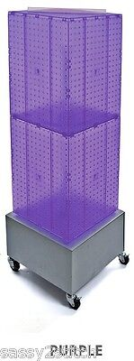 "Floor Pegboard Revolving Display - 4 Sided 14"" Square 40"" H 16"" Base (Purple)"