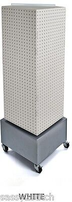 """AYS Retail 4 Sided Revolving Pegboard Display 14"""" x 14"""" x 40"""" H 16"""" Base (White)"""
