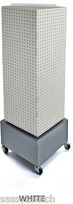 "Floor Pegboard Revolving Display - 4 Sided 14"" x 14"" x 40"" H 16"" Base (White)"