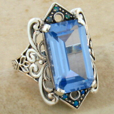 7.5 Ct. Sky Sim Blue Topaz Antique Victorian Design 925 Silver Ring Size 5,#497