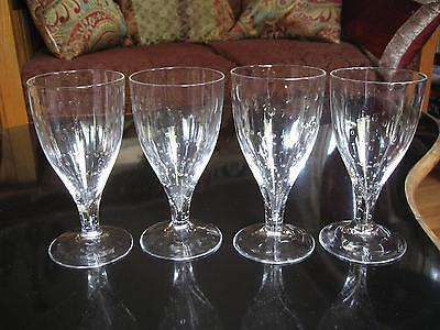 (4) ROOST ART GLASS WATER GOBLET DRINKING GLASSES Hand Blown Bubble Swirl 6.5""