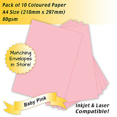 80gsm Coloured Paper Baby Pink A4 Size - Pack of 10