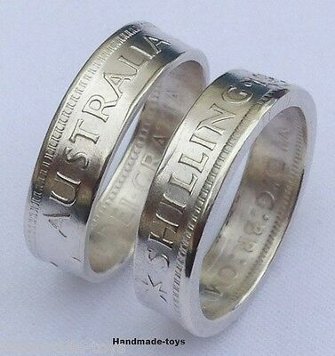 Australian Shilling Silver Handmade to Coin Ring - Date 1946 to 1963