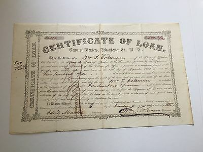 Yonkers, New York Certificate of Loan Bond $500 from 1862. Very Rare.