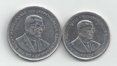 2 DIFFERENT COINS from MAURITIUS - 1/2 & 1 RUPEE (BOTH DATING 2010)