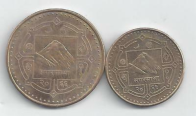 2 DIFFERENT COINS from NEPAL - 1 & 2 RUPEE (BOTH DATING 2009)..