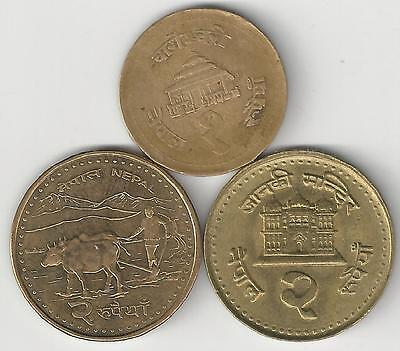 3 DIFFERENT 2 RUPEE COINS from NEPAL - 1994, 2003 & 2008 (3 TYPES)