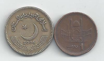 2 DIFFERENT COINS from PAKISTAN - 1 & 2 RUPEE (BOTH DATING 2006)