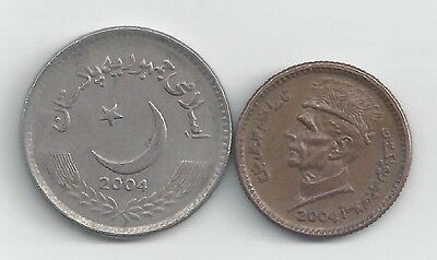 2 DIFFERENT COINS from PAKISTAN - 1 & 5 RUPEES (BOTH DATING 2004)