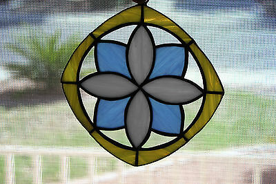 "New Handmade Stained Glass Suncatcher 5.5"" Square Original Pattern"