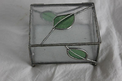 New Handmade Stained Glass Jewelry/Trinket Box Original Pattern Clear w/ Leaves